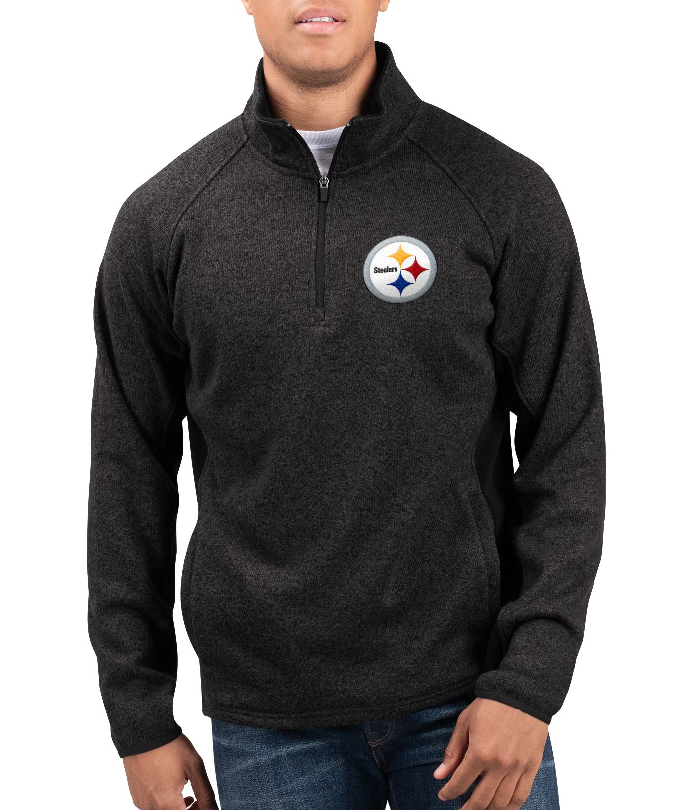 G-III Men's Pittsburgh Steelers Centerfold Half-Zip Black Jacket