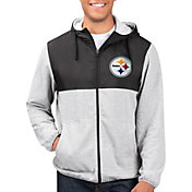 G-III Men's Pittsburgh Steelers Intermission Full-Zip Grey Jacket
