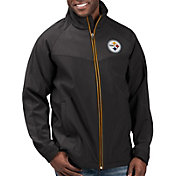 G-III Men's Pittsburgh Steelers Warning Track Full-Zip Black Jacket
