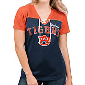 G-III For Her Women's Auburn Tigers Blue Shuffle Lace V-Neck T-Shirt