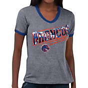 Touch by Alyssa Milano Women's Boise State Broncos Grey Sequin Free Throw T-Shirt