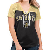 G-III For Her Women's UCF Knights Shuffle Lace V-Neck Black T-Shirt