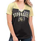 G-III For Her Women's Colorado Buffaloes Shuffle Lace V-Neck Black T-Shirt