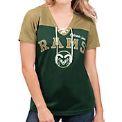 G-III For Her Women's Colorado State Rams Green Shuffle Lace V-Neck T-Shirt