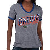 Touch by Alyssa Milano Women's Florida Gators Grey Sequin Free Throw T-Shirt