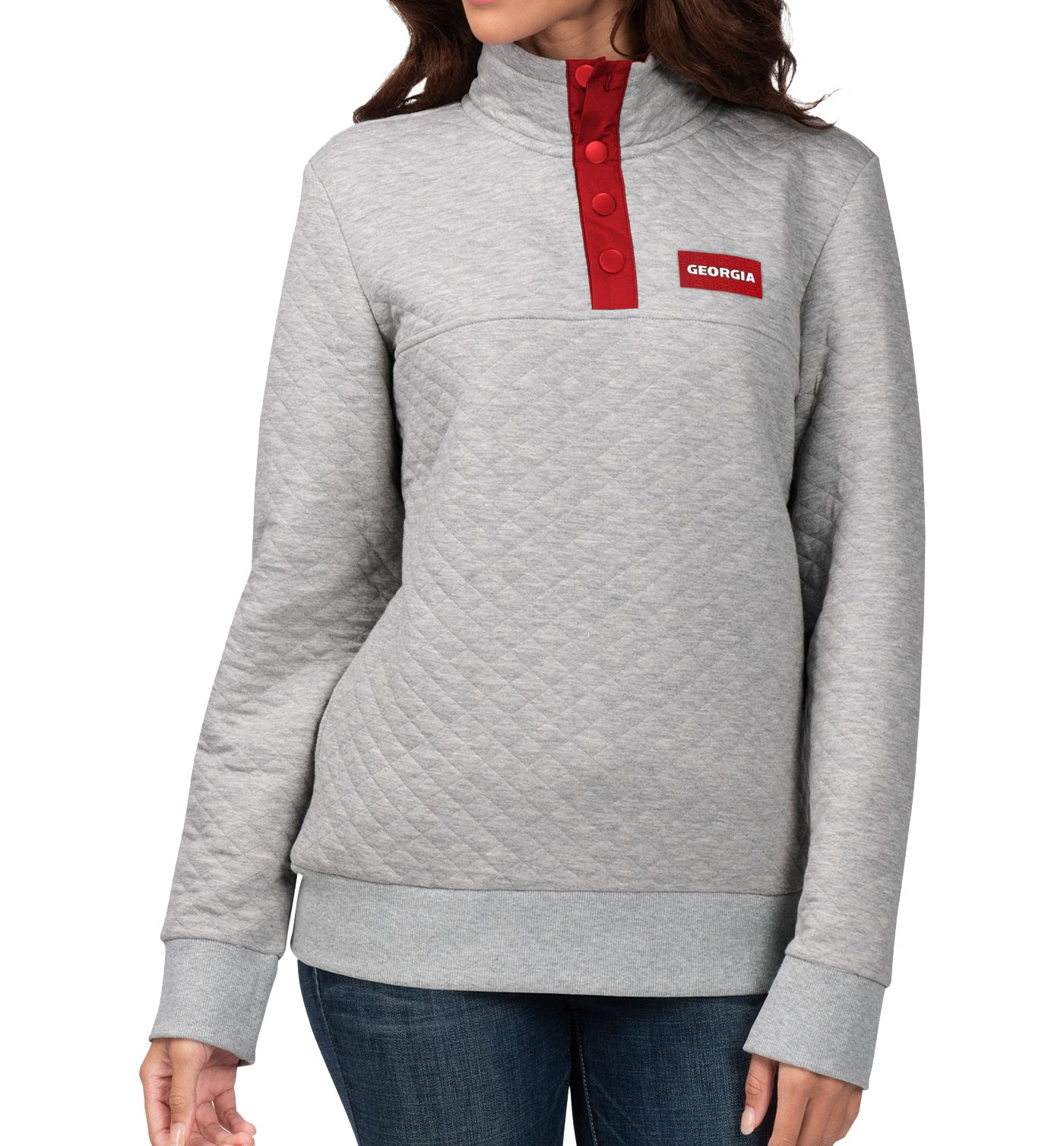 G-III For Her Women's Georgia Bulldogs Grey First Hit Quarter-Button Pullover Top