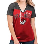 G-III For Her Women's Georgia Bulldogs Red Shuffle Lace V-Neck T-Shirt