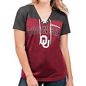 G-III For Her Women's Oklahoma Sooners Crimson Shuffle Lace V-Neck T-Shirt
