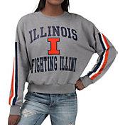 G-III For Her Women's Illinois Fighting Illini Grey Freshman Crew Neck Sweatshirt