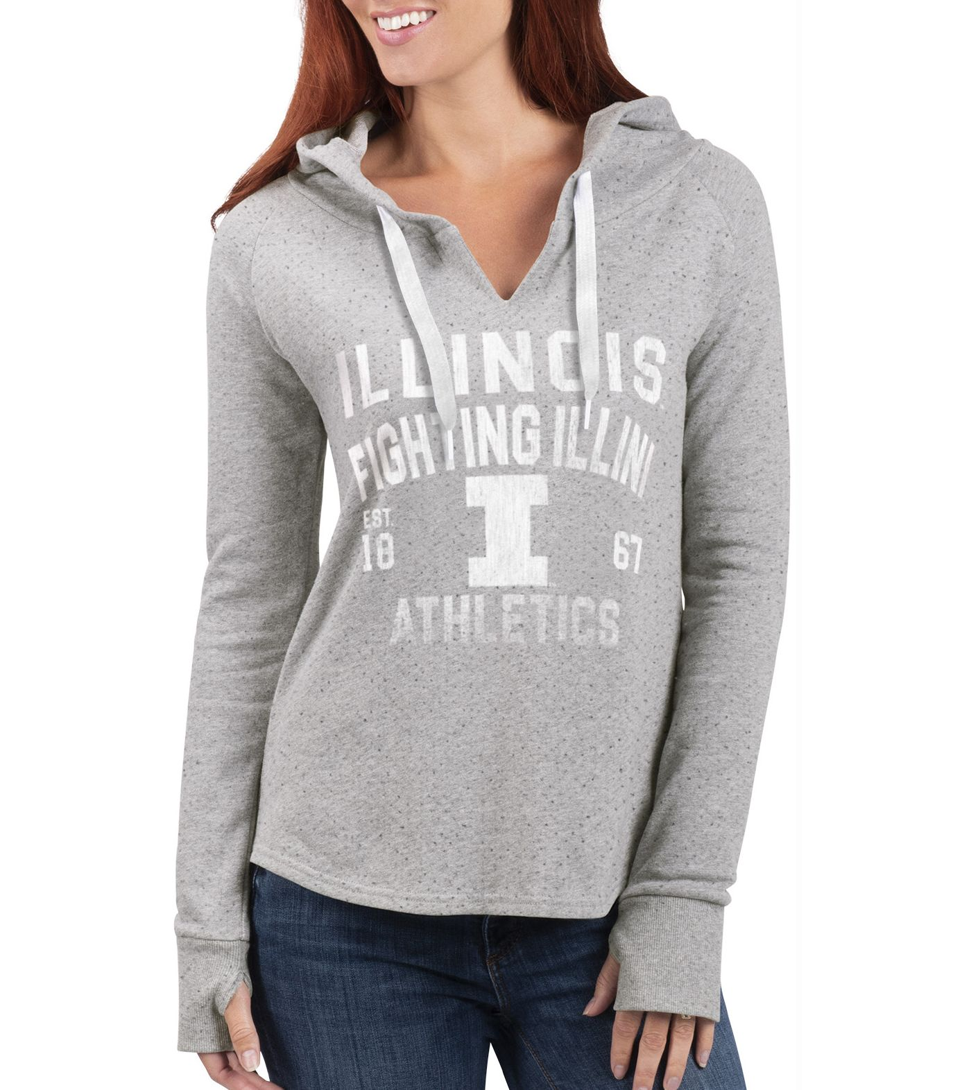 G-III For Her Women's Illinois Fighting Illini Grey Touchdown Pullover Hoodie