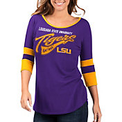 G-III For Her Women's LSU Tigers Purple Gamechanger 3/4 Sleeve Shirt