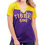 G-III For Her Women's LSU Tigers Purple Shuffle Lace V-Neck T-Shirt