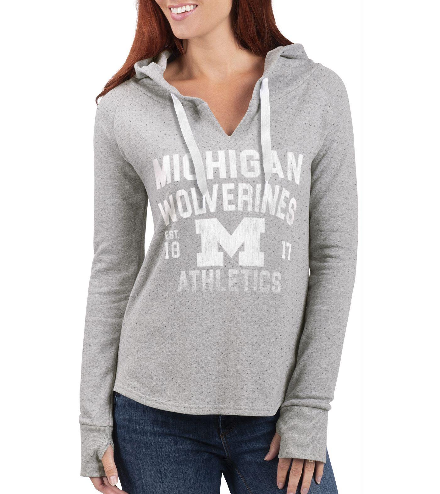 G-III For Her Women's Michigan Wolverines Grey Touchdown Pullover Hoodie