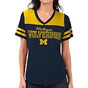 Touch by Alyssa Milano Women's Michigan Wolverines Blue Fair Shutout V-Neck T-Shirt