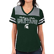 Touch by Alyssa Milano Women's Michigan State Spartans Green Fair Shutout V-Neck T-Shirt