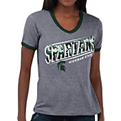 Touch by Alyssa Milano Women's Michigan State Spartans Grey Sequin Free Throw T-Shirt