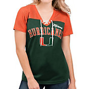 G-III For Her Women's Miami Hurricanes Green Shuffle Lace V-Neck T-Shirt
