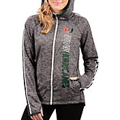 G-III For Her Women's Miami Hurricanes Grey Free Agent Full-Zip Hoodie