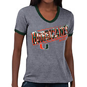 Touch by Alyssa Milano Women's Miami Hurricanes Grey Sequin Free Throw T-Shirt