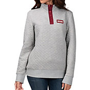 G-III For Her Women's Indiana Hoosiers Grey First Hit Quarter-Button Pullover Top