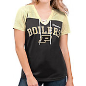G-III For Her Women's Purdue Boilermakers Shuffle Lace V-Neck Black T-Shirt