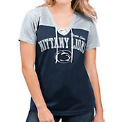 G-III For Her Women's Penn State Nittany Lions Blue Shuffle Lace V-Neck T-Shirt