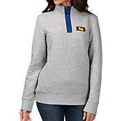 G-III For Her Women's Pitt Panthers Grey First Hit Quarter-Button Pullover Top