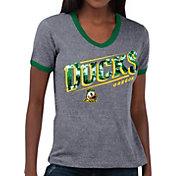 Touch by Alyssa Milano Women's Oregon Ducks Grey Sequin Free Throw T-Shirt