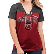 G-III For Her Women's South Carolina Gamecocks Garnet Shuffle Lace V-Neck T-Shirt