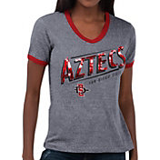 Touch by Alyssa Milano Women's San Diego State Aztecs Grey Sequin Free Throw T-Shirt