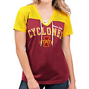 G-III For Her Women's Iowa State Cyclones Cardinal Shuffle Lace V-Neck T-Shirt