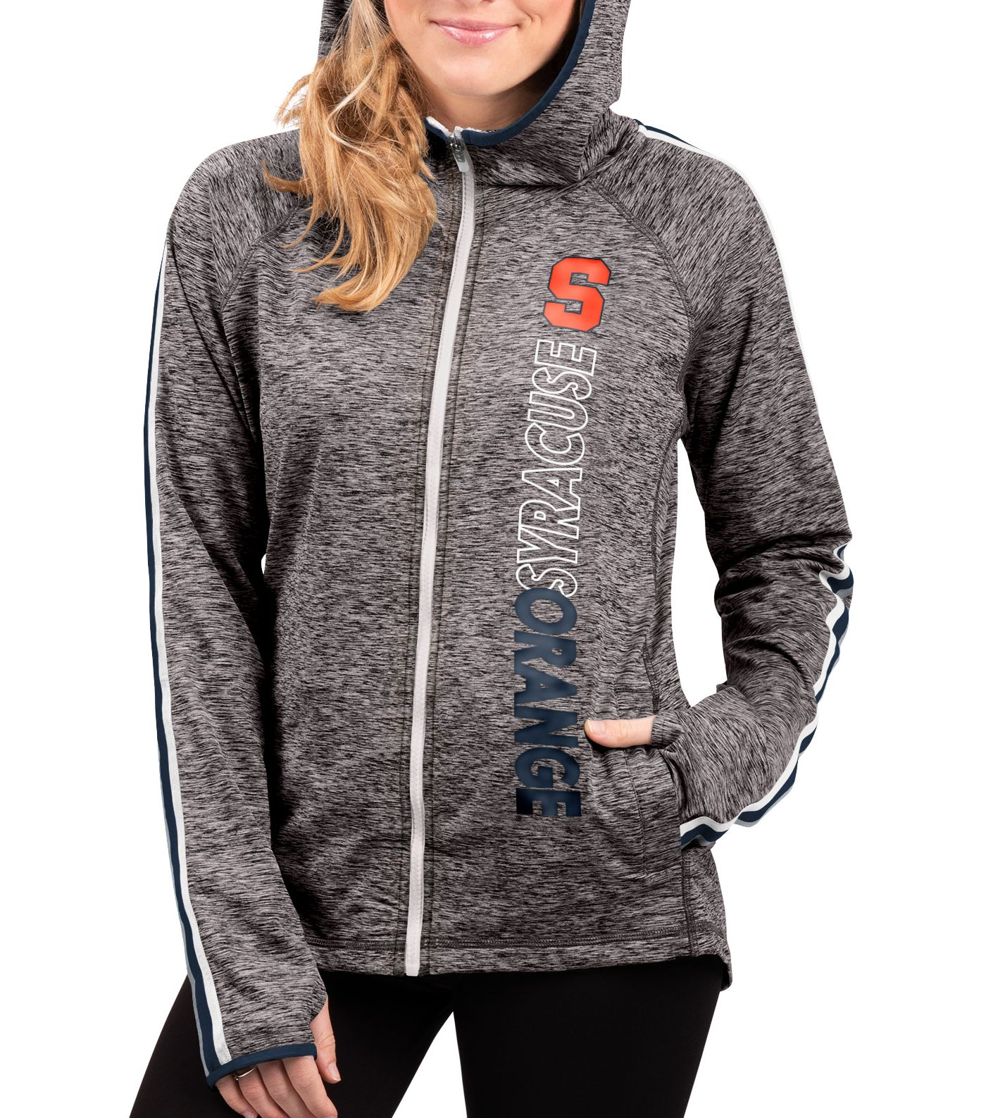 G-III For Her Women's Syracuse Orange Grey Free Agent Full-Zip Hoodie