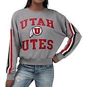 G-III For Her Women's Utah Utes Grey Freshman Crew Neck Sweatshirt