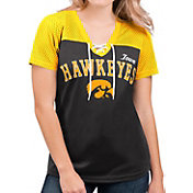 G-III For Her Women's Iowa Hawkeyes Shuffle Lace V-Neck Black T-Shirt