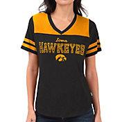 Touch by Alyssa Milano Women's Iowa Hawkeyes Fair Shutout V-Neck Black T-Shirt