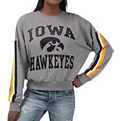 G-III For Her Women's Iowa Hawkeyes Grey Freshman Crew Neck Sweatshirt