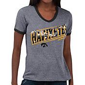 Touch by Alyssa Milano Women's Iowa Hawkeyes Grey Sequin Free Throw T-Shirt