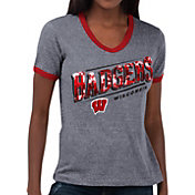 Touch by Alyssa Milano Women's Wisconsin Badgers Grey Sequin Free Throw T-Shirt