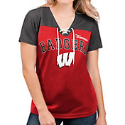 G-III For Her Women's Wisconsin Badgers Red Shuffle Lace V-Neck T-Shirt