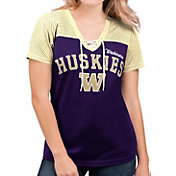 G-III For Her Women's Washington Huskies Purple Shuffle Lace V-Neck T-Shirt