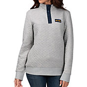 G-III For Her Women's West Virginia Mountaineers Grey First Hit Quarter-Button Pullover Top
