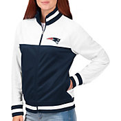 G-III for Her Women's New England Patriots Faceoff Rhinestone Full-Zip Track Jacket