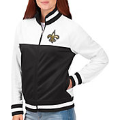 G-III for Her Women's New Orleans Saints Faceoff Rhinestone Full-Zip Track Jacket