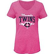 Gen2 Youth Girls' Minnesota Twins Pink Tri-Blend V-Neck T-Shirt