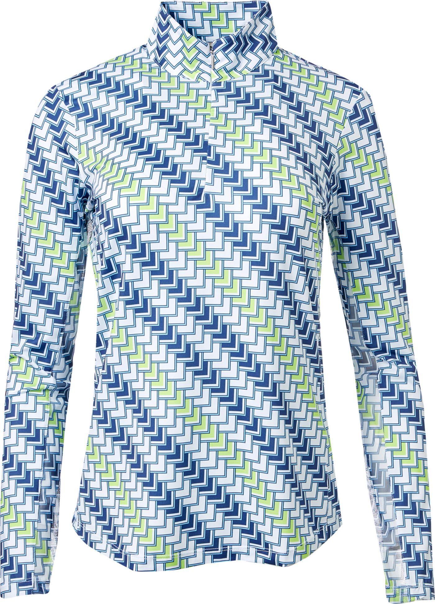 EP Pro Women's Long Sleeve Geo Print Golf Polo