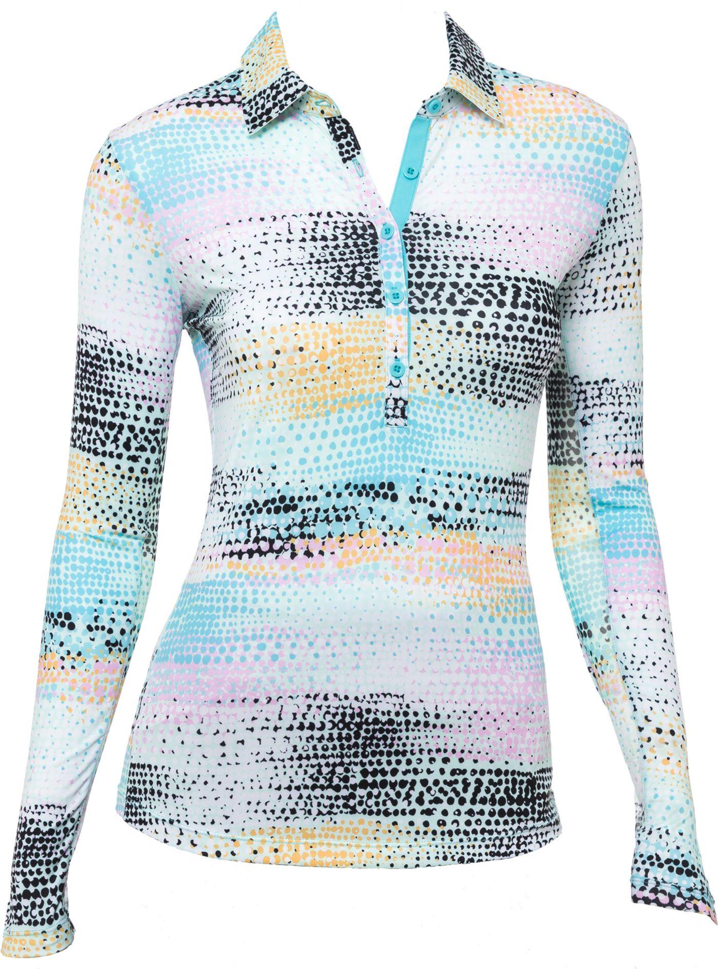 EP Pro Women's Multi Dots Print Long Sleeve Golf Polo