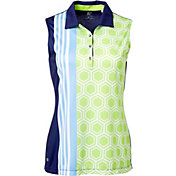 EP Pro Women's Sleeveless Geo Scarf Print Golf Polo