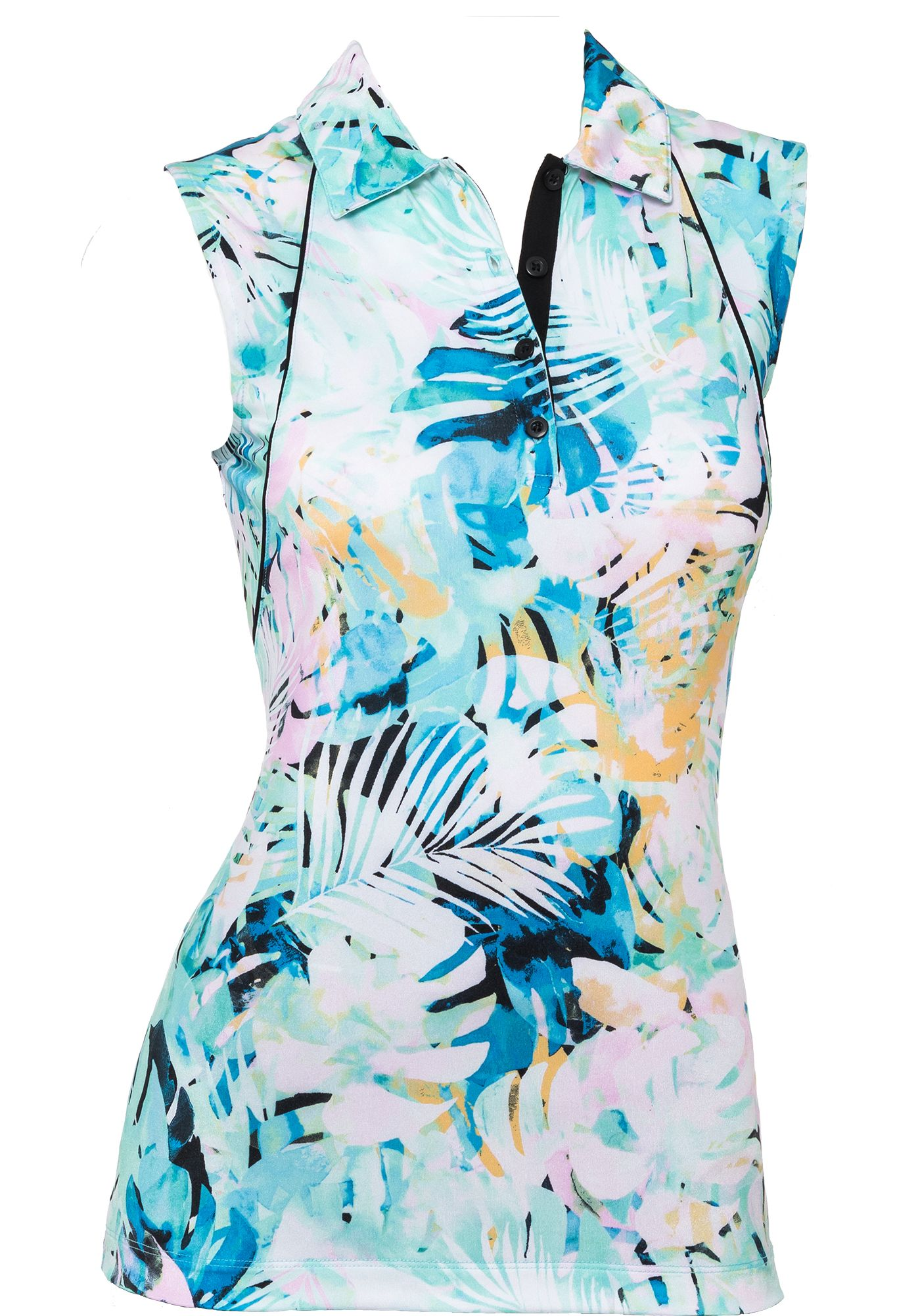 EP Pro Women's Shimmer Multi Tropical Print Sleeveless Golf Polo