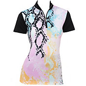 EP Pro Women's Patchwork Snakeskin Print Short Sleeve Golf Polo