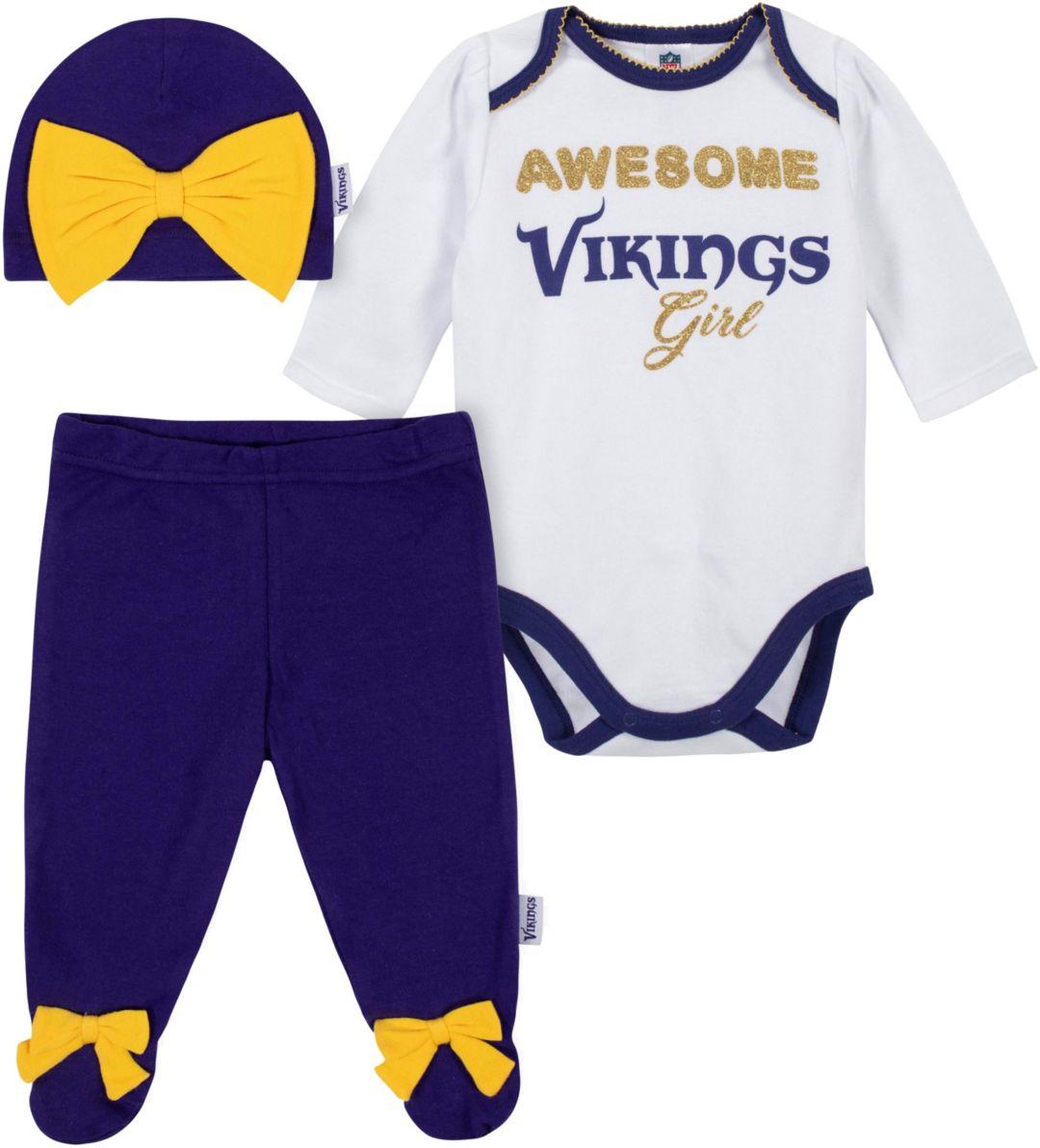 arrives 5539c af427 Gerber Infant Girls' Minnesota Vikings Onesie Footed Pants Set